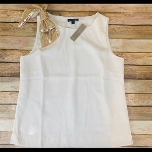 Ivory J. Crew Sleeveless Blouse Sequin Bow